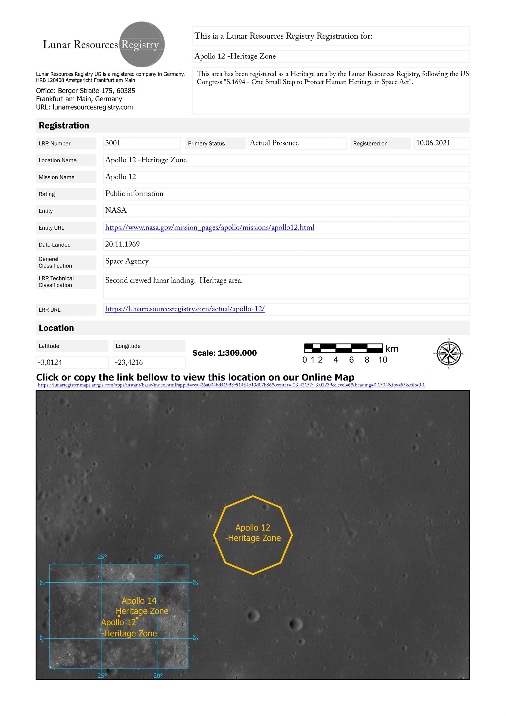 Lunar Resources Registration, Lunar Heritage Zone Apollo 11