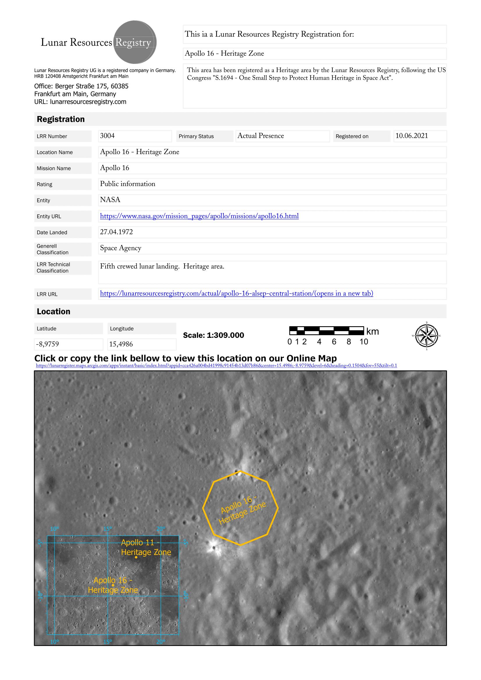 Lunar Resources Registration, Lunar Zoning Heritage Area Apollo 16